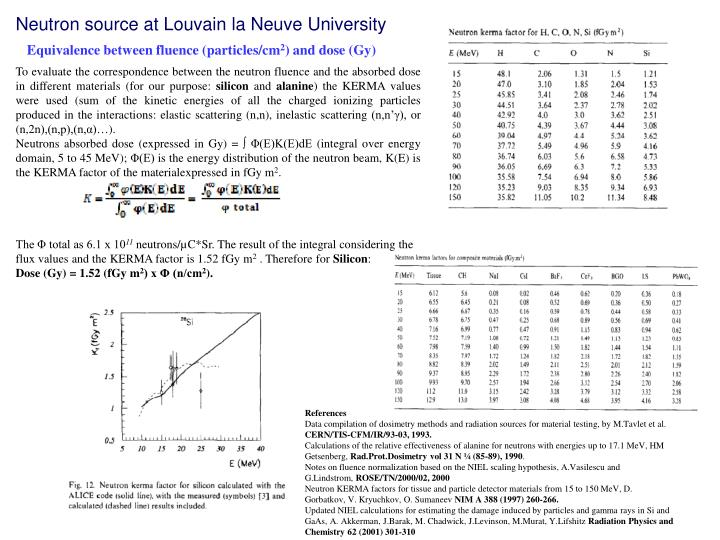 To evaluate the correspondence between the neutron fluence and the absorbed dose in different
