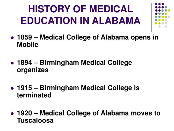 HISTORY OF MEDICAL EDUCATION IN ALABAMA