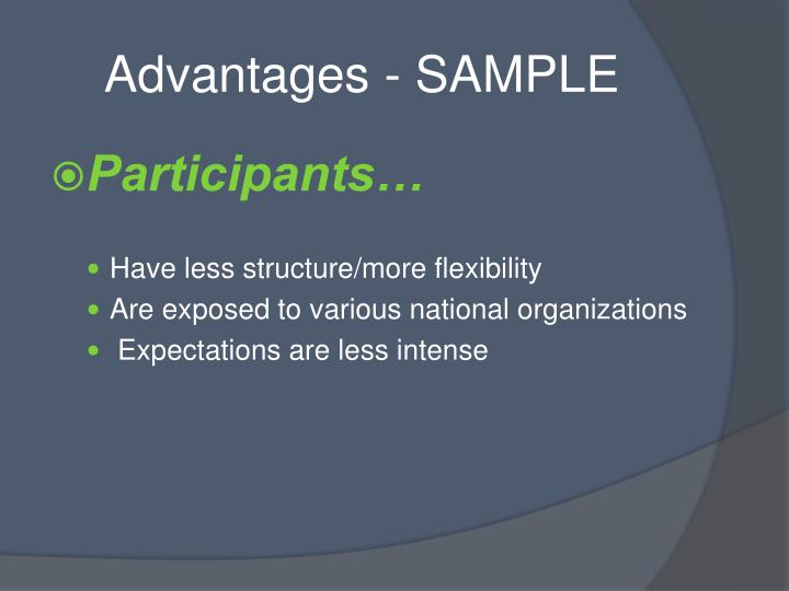 Advantages - SAMPLE