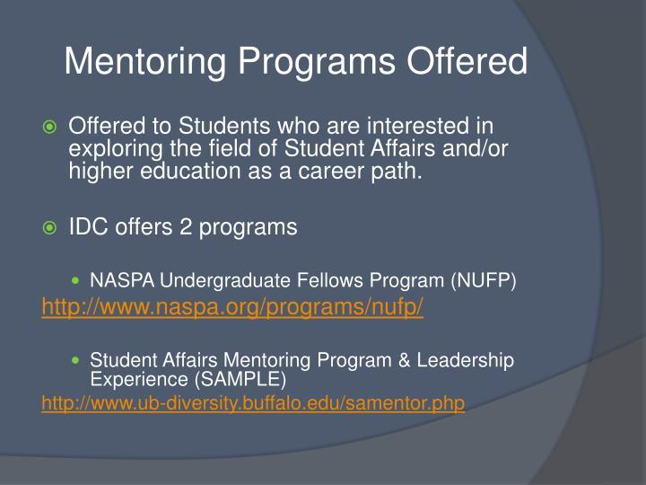 Mentoring programs offered