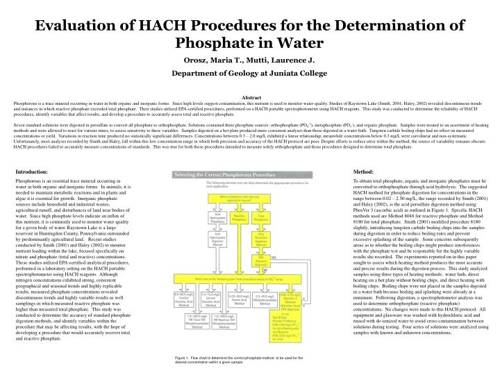 Evaluation of HACH Procedures for the Determination of Phosphate in Water