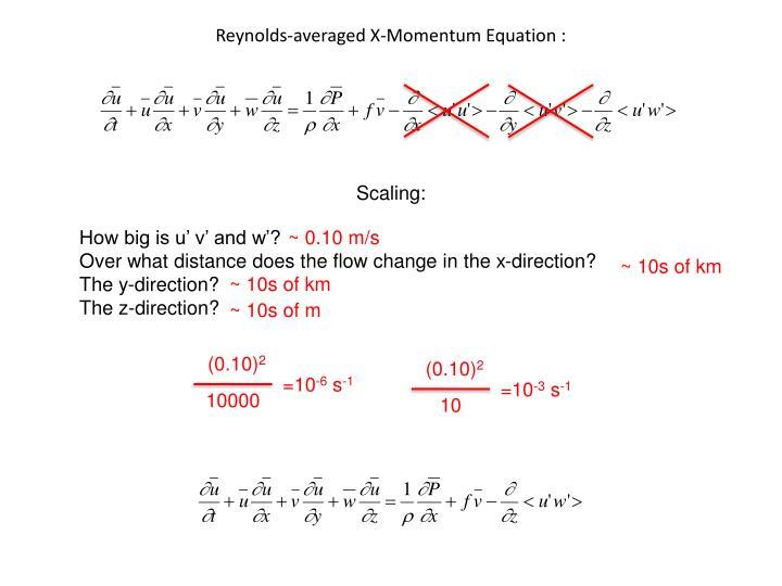 Reynolds-averaged X-Momentum Equation :