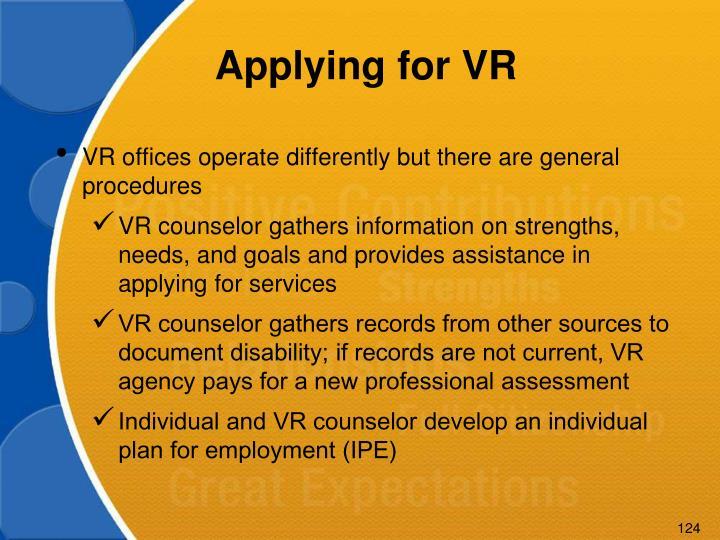 Applying for VR