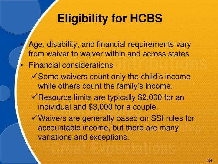 Eligibility for HCBS