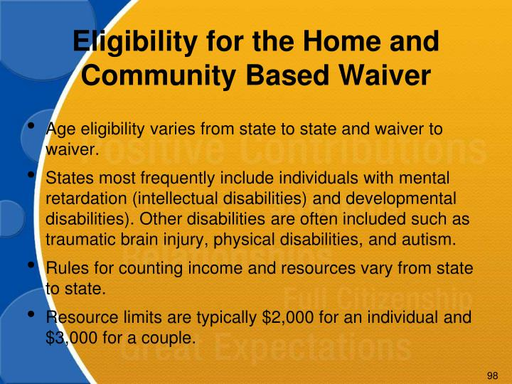 Eligibility for the Home and Community Based Waiver