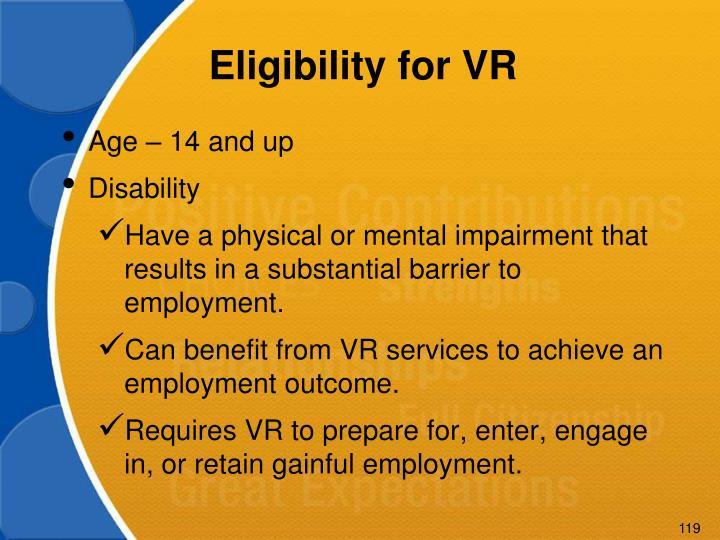 Eligibility for VR
