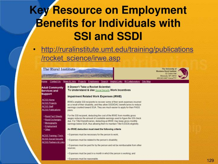 Key Resource on Employment Benefits for Individuals with SSI and SSDI