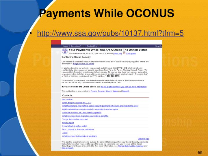 Payments While OCONUS