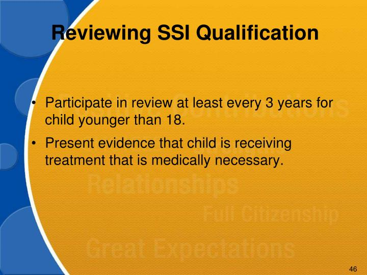 Reviewing SSI Qualification