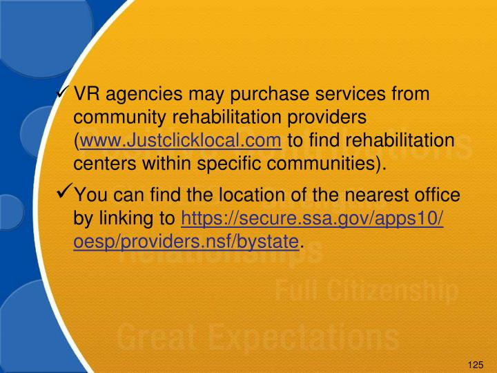 VR agencies may purchase services from community rehabilitation providers (
