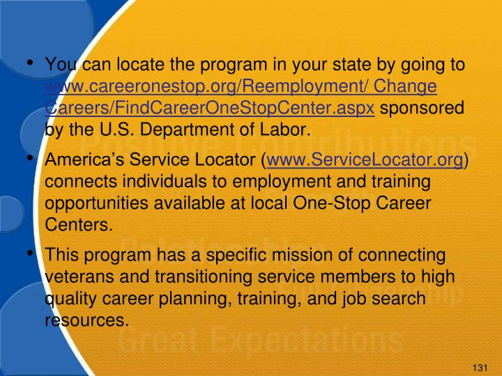 You can locate the program in your state by going to