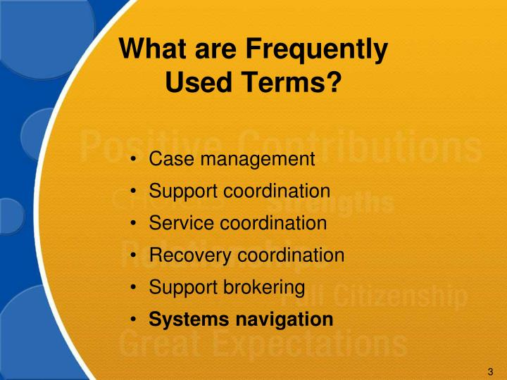 What are frequently used terms