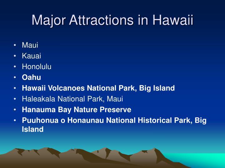Major attractions in hawaii
