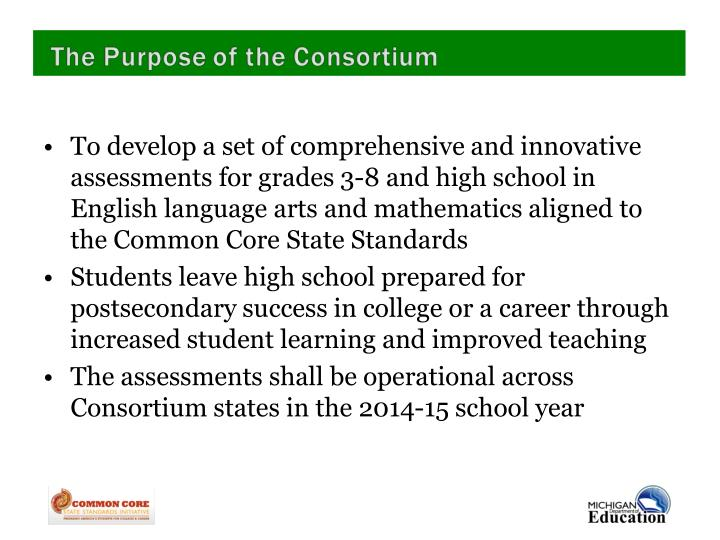 To develop a set of comprehensive and innovative assessments for grades 3-8 and high school in English language arts and mathematics aligned to the Common Core State Standards