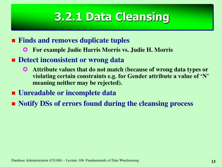 3.2.1 Data Cleansing