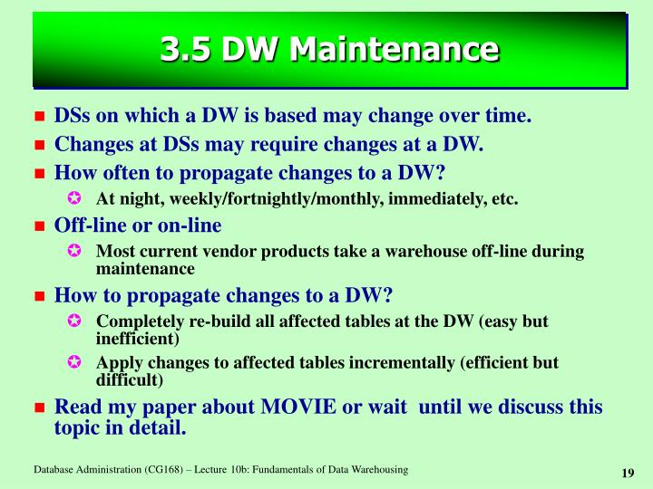 3.5 DW Maintenance