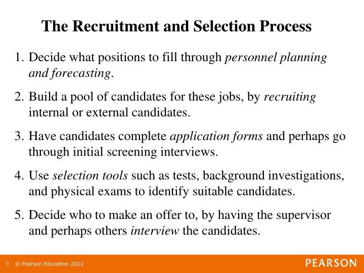 The recruitment and selection process