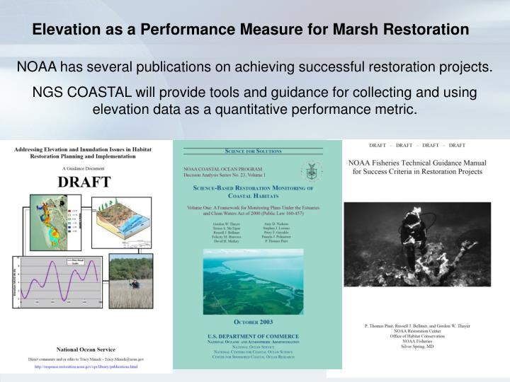 Elevation as a Performance Measure for Marsh Restoration