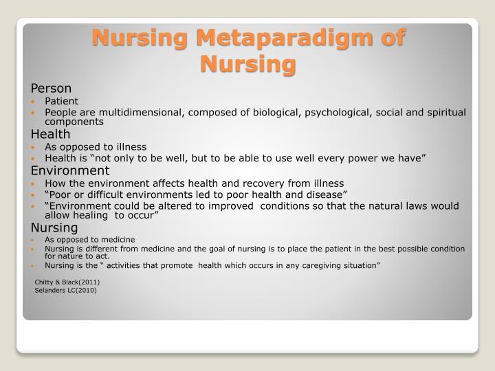 metaparadigm of nursing Yulin chu, np the metaparadigm of nursing distinguishes nursing from any other discipline such as biology, sociology, or psychology (jonson et al, 2012).