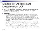 examples of objectives and measures from ucf