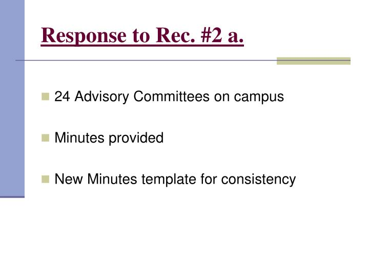 Response to Rec. #2 a.