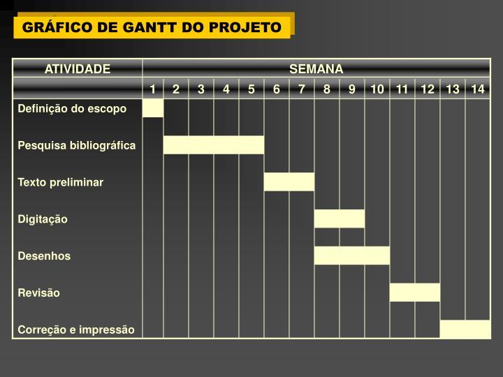 GRÁFICO DE GANTT DO PROJETO