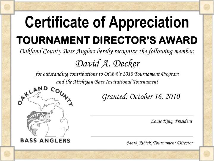 Ppt certificate of appreciation powerpoint presentation id4630325 certificate of appreciation tournament directors award yadclub Image collections
