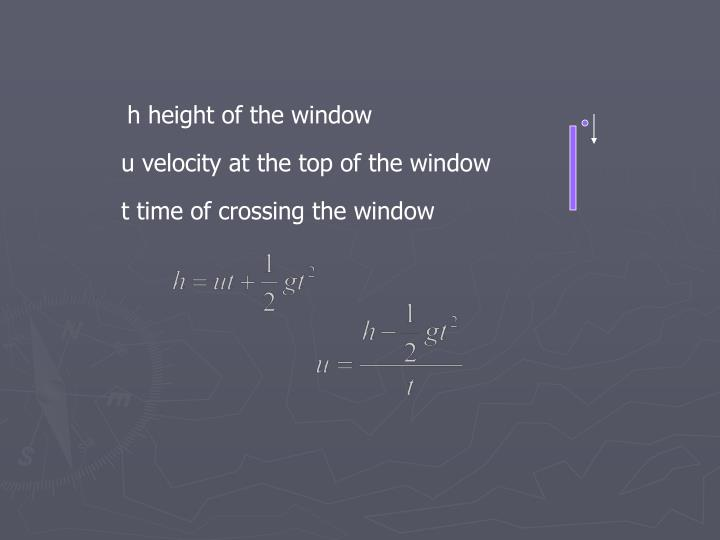 h height of the window
