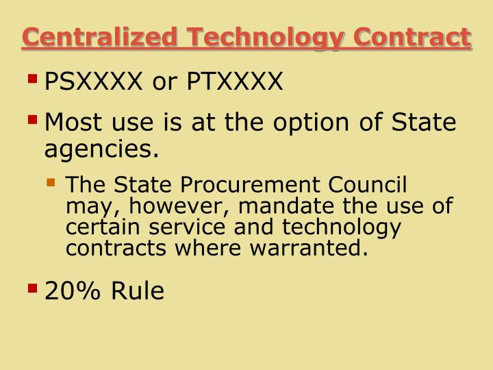Centralized Technology Contract