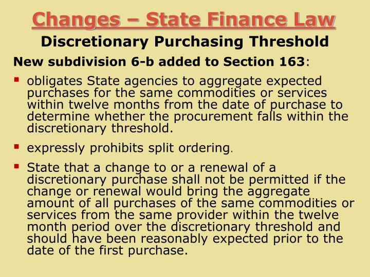 Changes – State Finance Law