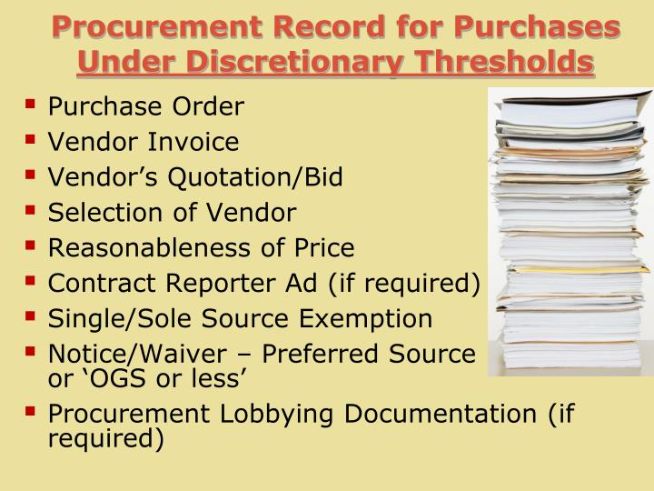 Procurement Record for Purchases