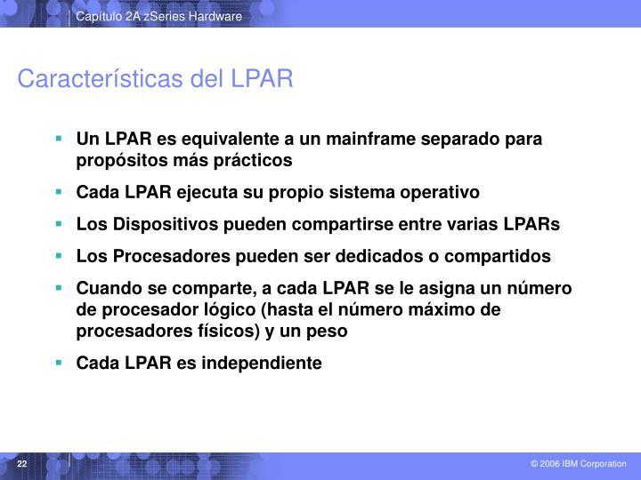 Características del LPAR