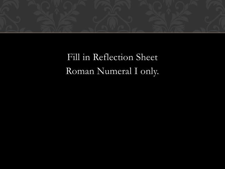Fill in Reflection Sheet