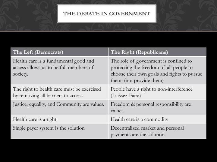 The debate in government