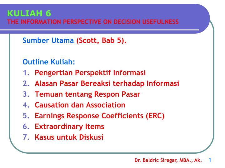 kuliah 6 the information perspective on decision usefulness n.