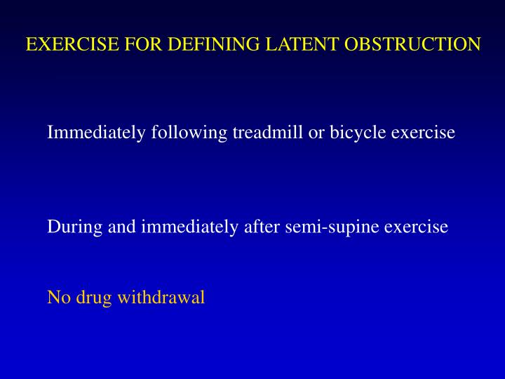 EXERCISE FOR DEFINING LATENT OBSTRUCTION
