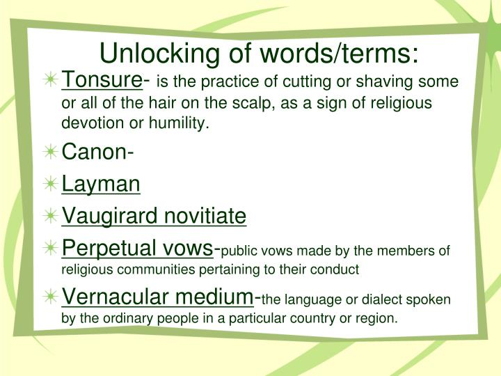 Unlocking of words/terms: