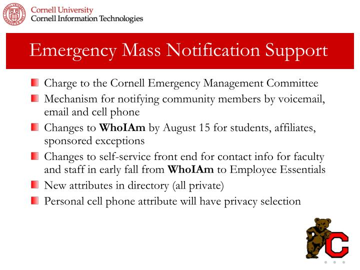 Emergency Mass Notification Support