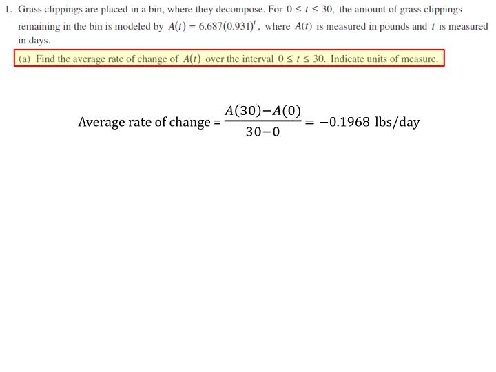 Average rate of change =