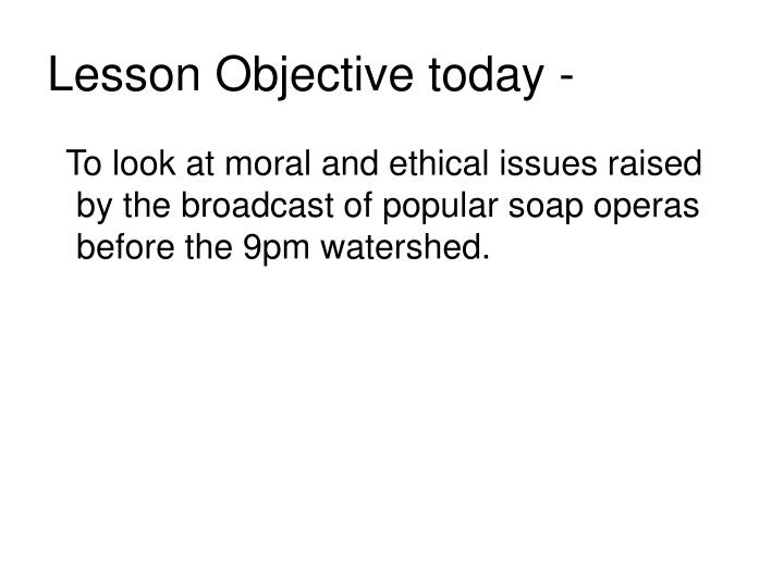 Lesson objective today