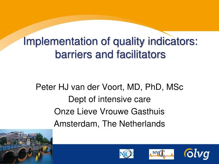 implementation of quality indicators barriers and facilitators n.