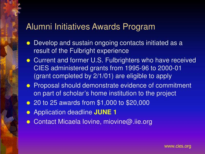 Alumni Initiatives Awards Program