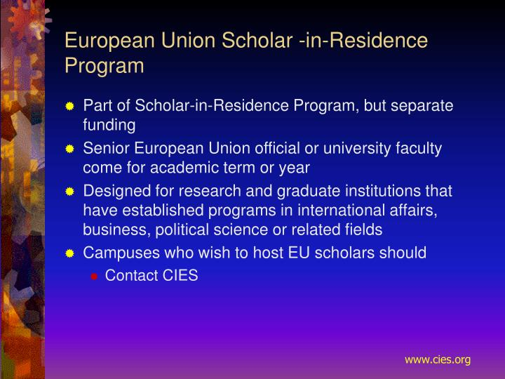 European Union Scholar ‑in‑Residence Program