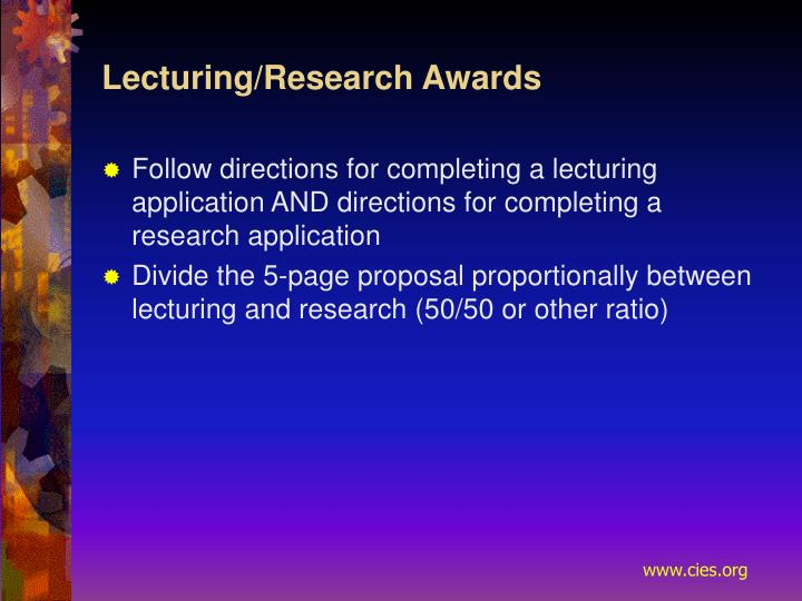 Lecturing/Research Awards