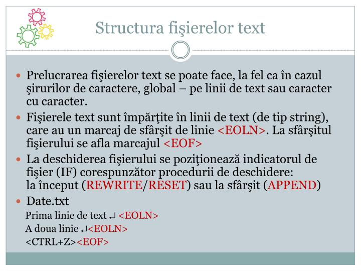 Structura fişierelor text