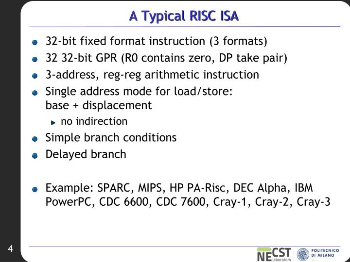 A Typical RISC ISA