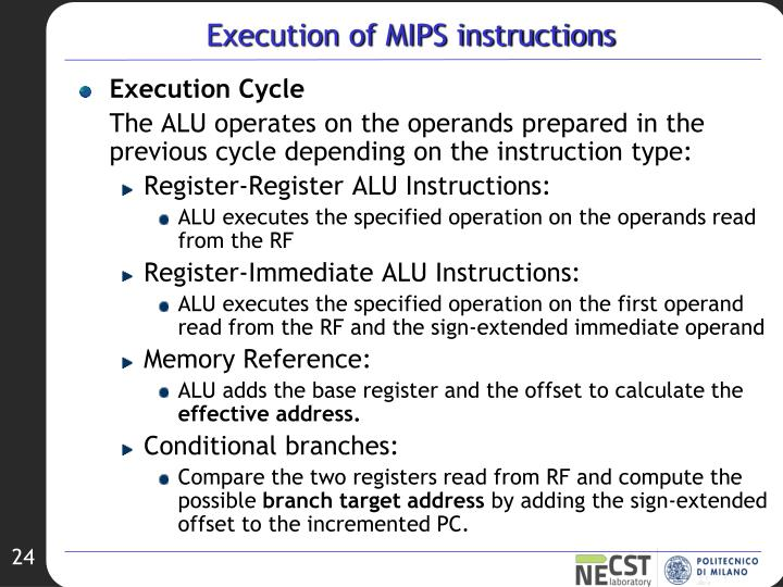 Execution of MIPS instructions