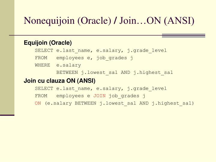 Nonequijoin (Oracle)