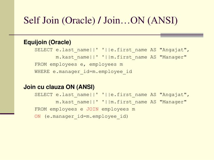 Self Join (Oracle)