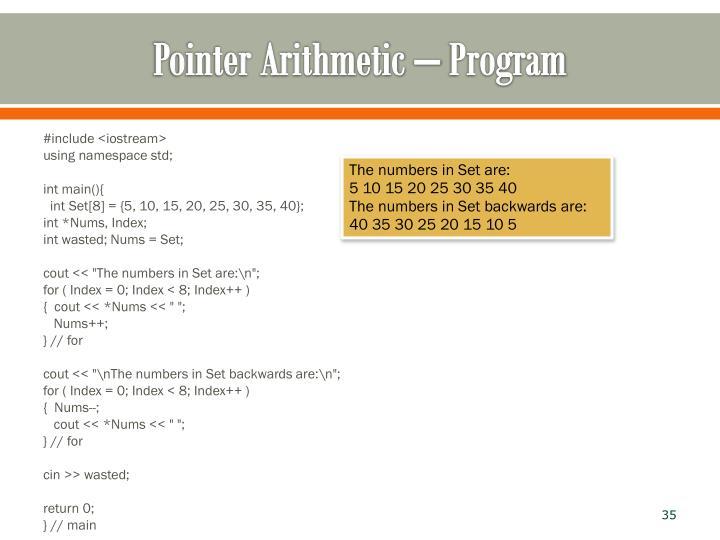 Pointer Arithmetic – Program